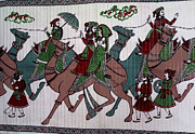 Indian Tapestries - Textiles - Camel Riders by Suhas Tavkar