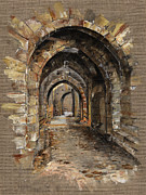 Ruins Drawings Metal Prints - Camelot -  The Way To Ancient Times - Elena Yakubovich Metal Print by Elena Yakubovich