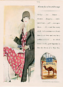 Smoking Drawings Posters - Camels  1928 1920s Usa Cc Women Smoking Poster by The Advertising Archives