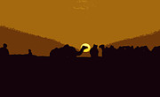 SAHARA Mixed Media - Camels at sunset by Anthony Dalton