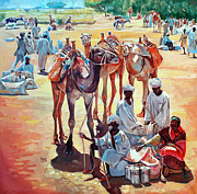 Mohamed Fadul Posters - Camels people and market Poster by Mohamed Fadul