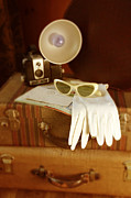 Vintage Map Photos - Camera Sunglasses on Luggage by Jill Battaglia