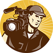 Artwork Prints - Cameraman Film Crew Pro Video Movie Camera Print by Aloysius Patrimonio