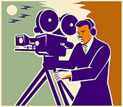 Film Maker Prints - Cameraman Film Crew Vintage Video Movie Camera Print by Retro Vectors