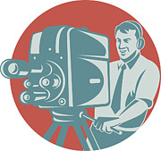 Director Prints - Cameraman Filming With Vintage TV Camera Print by Aloysius Patrimonio