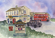 London Cab Posters - Camerons Pub and Restaurant Poster by Diane Thornton