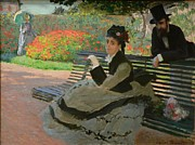Monet Lady Posters - Camille Monet on a garden bench Poster by Claude Monet