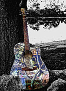 Pickin Digital Art Prints - Camo Guitar Print by Kristie  Bonnewell