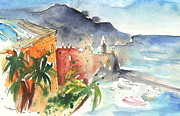 Italian Landscapes Drawings Posters - Camogli in Italy 10 Poster by Miki De Goodaboom
