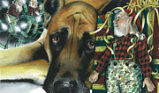 Great Dane Paintings - Camouflaged by Denny Bond