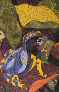 Fabric Collage Tapestries Textiles Prints - Camouflaged Forest Toad Print by Lynda K Boardman