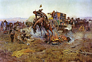 Horse Whip Prints - Camp Cooks Trouble Print by Charles Russell