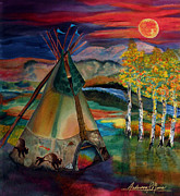 Lakota Paintings - Camp of the Hunting Moon by Anderson R Moore