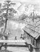 Cypress Tree Drawings - Camp On The Lake by Theon Guillory