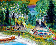 Lakota Paintings - Camp Ramona by Anderson R Moore