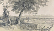 Landscapes Drawings - Campagna of Rome from Villa Mattei by Edward Lear