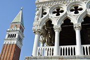 Tourist Destinations Prints - Campanile and Doges Palace Print by Sami Sarkis
