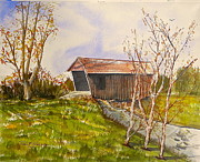 Covered Bridge Paintings - Campbells Covered Bridge by Robert Havens