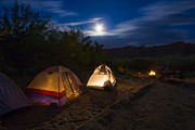 Tent Prints - Campfire and Moonlight Print by Adam Romanowicz