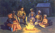 Black Art Framed Prints - Campfire Stories Framed Print by Colin Bootman