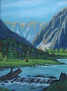 Colorado Mountain Stream Paintings - Camping in the Colorado Mountains by Melinda Saminski
