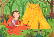 Bright Colors Drawings Metal Prints - Camping with Foxes Metal Print by Kate Cosgrove