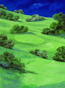 Golf Flag Prints - Campo Da Golf Di Notte Print by Guido Borelli