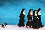 Nuns Painting Prints - Can I Please Join Your Gang Print by Lisa Kaye