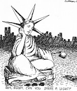 Statue Of Liberty Drawings Prints - Can Ya Spare A Light? Print by Cris Johnson