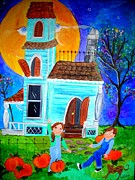 Haunted House Paintings - Can you see the Man in the Moon by Jean Jackson