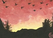 Black Bird.flying Art Paintings - Canada Geese -- Looking for Lodging for the Night by Sherry Goeben