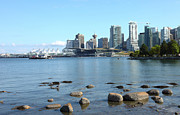 Burrard Inlet Photo Prints - Canada Place and the Vancouver BC skyline Canada. Print by Gino Rigucci