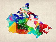 Canada Rolled Paint Map Print by Michael Tompsett