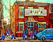 Depanneur Art - Canadian Art Fairmount Bagel With Hockey Montreal Winter Scene Montreal Paintings Carole Spandau by Carole Spandau