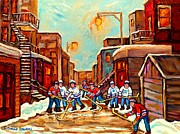 Hockey In Montreal Paintings - Canadian Art Hockey Painting Back Lane Hockey Game Montreal Winter Scene Carole Spandau by Carole Spandau