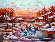 Hockey Rinks Paintings - Canadian Art Pond Hockey Winter Near The Village Landscape Scenes Carole Spandau by Carole Spandau