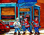 Montreal Bagels Framed Prints - Canadian Art Wilensky Doorway Hockey Game Paintings Of Winter Montreal Street Scenes Carole Spandau Framed Print by Carole Spandau