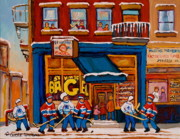 St.viateur Bagel Paintings - Canadian  Artists Paint Hockey And Montreal Streetscenes Over 500 Prints Available  by Carole Spandau