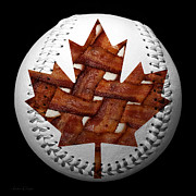 Baseballs Mixed Media Posters - Canadian Bacon Lovers Baseball Square Poster by Andee Photography