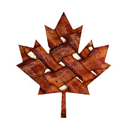 Cooking Ingredient Digital Art Posters - Canadian Bacon Lovers - Maple Leaf - Hickory Smoked - Meat - Pork - Breakfast Poster by Andee Photography