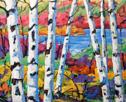 Canadian Landscape Prints - Canadian Birches by Prankearts Print by Richard T Pranke