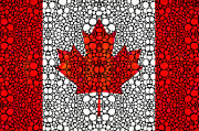 Canadian Painting Framed Prints - Canadian Flag - Canada Stone Rockd Art By Sharon Cummings Framed Print by Sharon Cummings