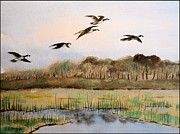 Canadian Geese Paintings - Canadian Geese above pond by Richard Nervig