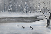 Canadian Geese Painting Posters - Canadian Geese in Winter Poster by Brandon Hebb