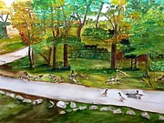 Canadian Geese Paintings - Canadian Geese  by Lonnie Anderson