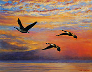 Canadian Geese Paintings - Canadian Honkers by John Pirnak