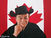Patriotic Painting Originals - Canadian Icon Stompin Tom Conners  by Sharon Duguay