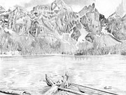 Mountain Drawings Prints - Canadian Mountain and Lake Print by Kayleigh Semeniuk