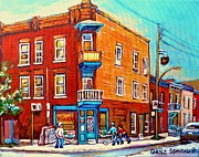 Ice Hockey Paintings - Canadian Paintings Hockey Art Montreal Memories Home Team Advantage Wilenskys Diner Carole Spandau by Carole Spandau