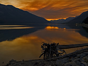 Sunset On The Lake Prints - Canadian Rockies Sunset Print by Moelyn Photos